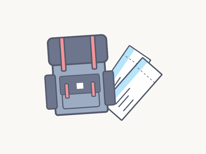 Relocation Support relocation travel plane tickets bag-pack illustration icons