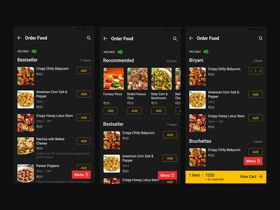 Food Ordering App Night Mode
