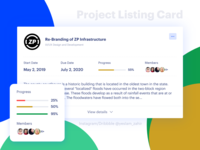 Project Listing Card | Project Management Tool