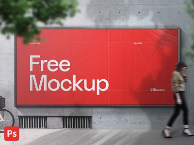 Billboard on wall - Mockup mockup psd outdoor billboard marketing advertising design
