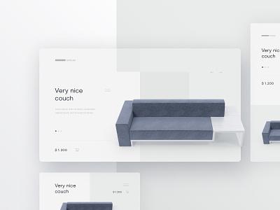 Furniture ShowCase couch furniture website landingpage clean minimalism simple