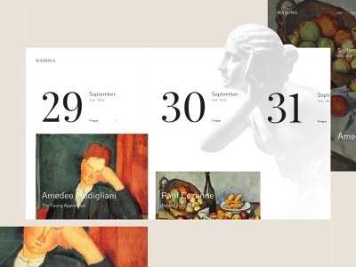 Gallery Events 🖼️ minimalism clean simple art events calendar webdesign heroimage ux ui