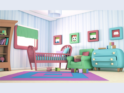 Baby Room blue room design app 3d artist pink baby pastel color game