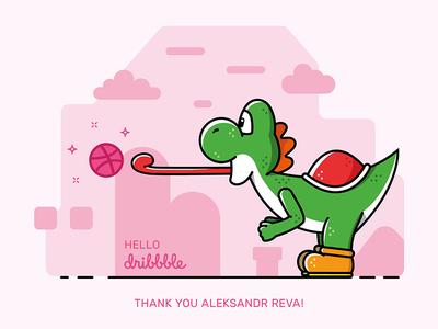 Hello dribbble :-) nintendo illustration video games super mario yoshi first shot hello