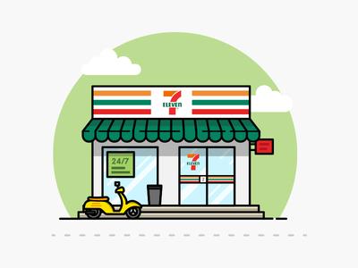 7-eleven shop vector illustration illustrator store building shop 7-eleven