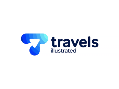 Travels illustrated - Logo Animation gradient typography animation arrow planet icon animation motion graphics motion design motion logo animation branding reveal logo reveal intro animated logo brand animation animation alexgoo after effects 2d animation 2d