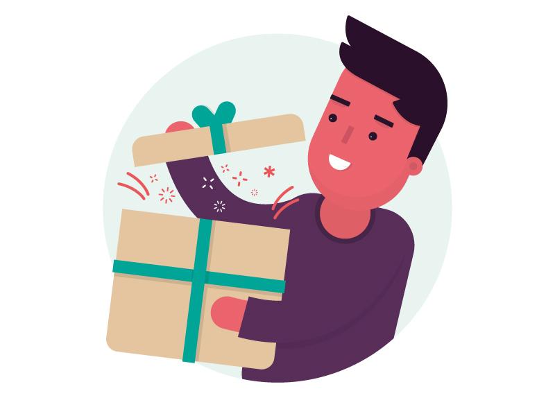 Gift happy box ribbon cadeau poef character gift present fun yay