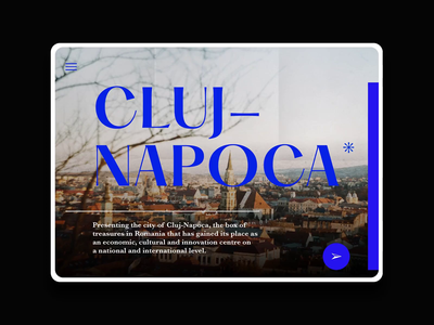 Web concept - Exploring the history of Cluj typography concept ux ui horizontal scroll design web animation principle editorial minimal blue presentation website city cluj