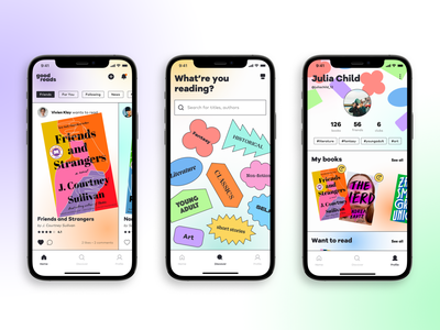 Book Reading App Concept - Goodreads redesign bold feed recommendation redesign goodreads minimal ux mobile interface ui interaction reading playful colorful gradient uiux mobile ui concept app book
