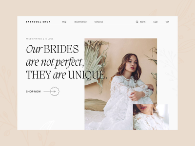 Bridal Webshop - Concept webshop typography ui concept animation interaction serif web webpage online shop wedding bridal fashion pastel romantic e-commerce landing page clean