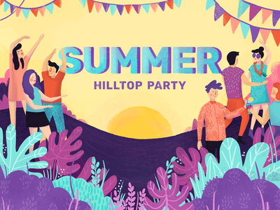 Feels like summer party dance groovy vibes celebrate fun illustrator photoshop pink nature plants people brush summer illustration