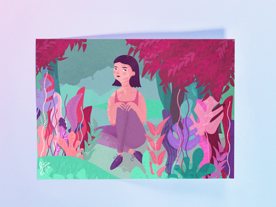 Girl in the Woods - Illustration