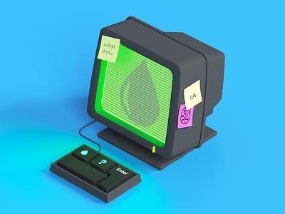 Computer artificialintelligence ai illustration octanerender render cinema4d octane c4d 3d computer water