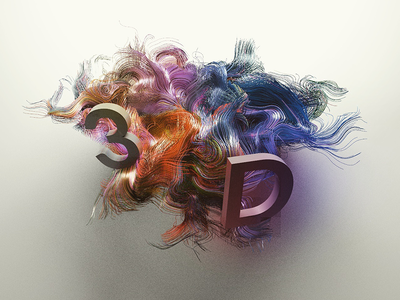 3D hairs procedural render rainbow photoshop 3d hairs houdini