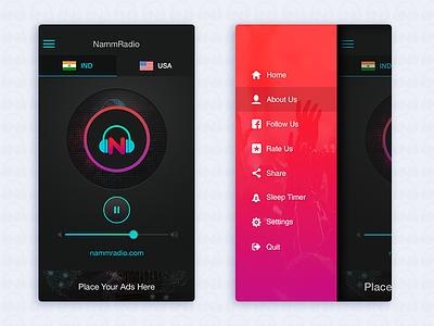 Kannada Online Radio navigation sidebar icon radio ui app
