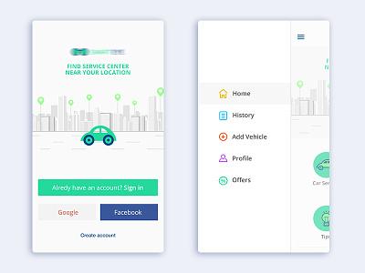 Vehicle Service app login uiux icon car ios side bar service app