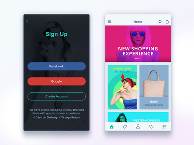 Shopping App home ios app uiux signup fashion e commerce