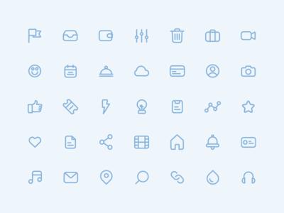 Basic Icon Set line icon design illustrator iconography icon