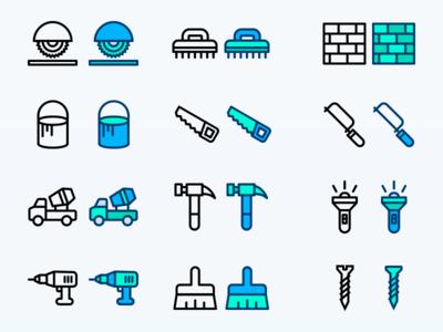 Construction icon Set colour icon tools line icon flat icons icons