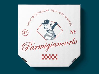 Parmigiancarlo newyork yankees baseball design boxes pizza logo typography illustration