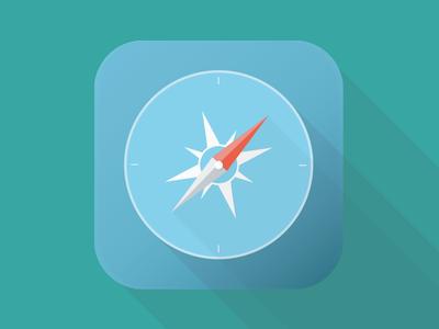 Safari iOS Flat Icon safari ios flat icon browser long shadow