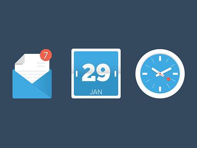 Free Icons icons flat free mail calendar clock illustrator design