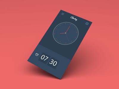 Clocky, a simple alarm clock for iOS clock app illustrator alarm app alarm clock design ui ux