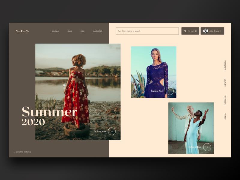 N-F-W Fashion Industry Website clean fashion brand fashion branding minimal website web web-design ui elements ux uidesign ui design