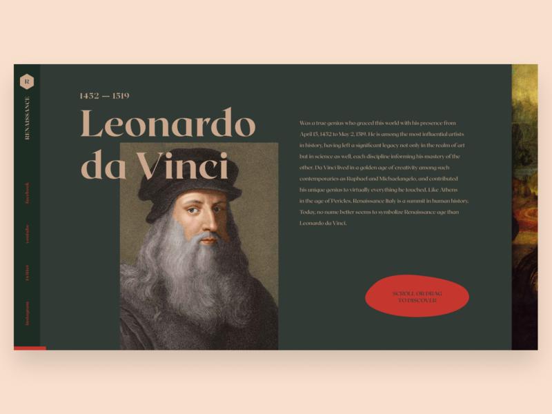 Leonardo da Vinci minimal ux typography ui elements uidesign animation design history animation website web web-design ui design