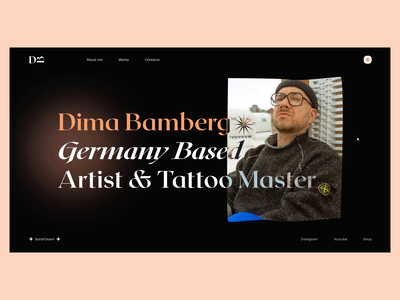 Dima Bamberg — Artist & Tattoo Master animation clean tattoo artist music artist web ui elements uidesign ui design minimalism webdesign website design website minimal