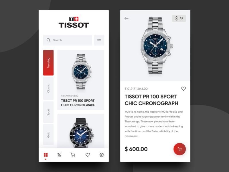 Tissot Store App ui elements design ui uidesign ux store app store watches tissot application uiux clean app design app