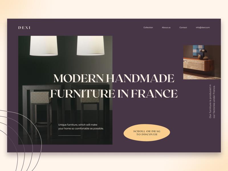 Dexi — Furniture Company clean furniture design branding minimal furniture store furniture typography website web-design web ui elements uidesign ui design