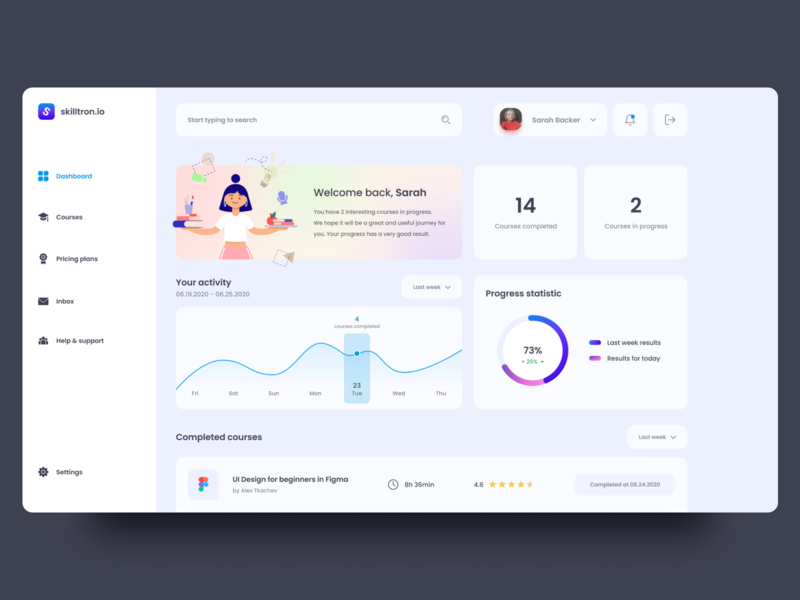 skilltron.io — Course Web App design ux web-design web ui elements clean web app design web app course course app dashboard ui dashboard design dashboard 2020 trends