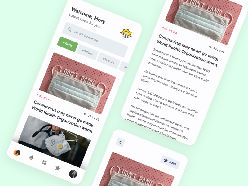 News App illustration design minimal ui elements ux ui uidesign newspaper newsletter app design app news app news 2020 trends