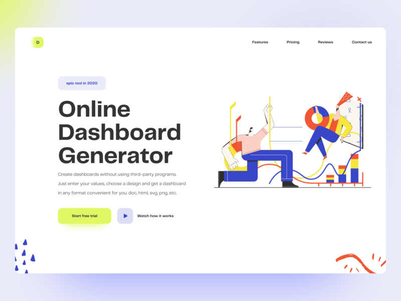 Online Dashboard Generator clean 2020 trends trend 2020 service online website design webdesign dashboad app website web web-design design illustraion