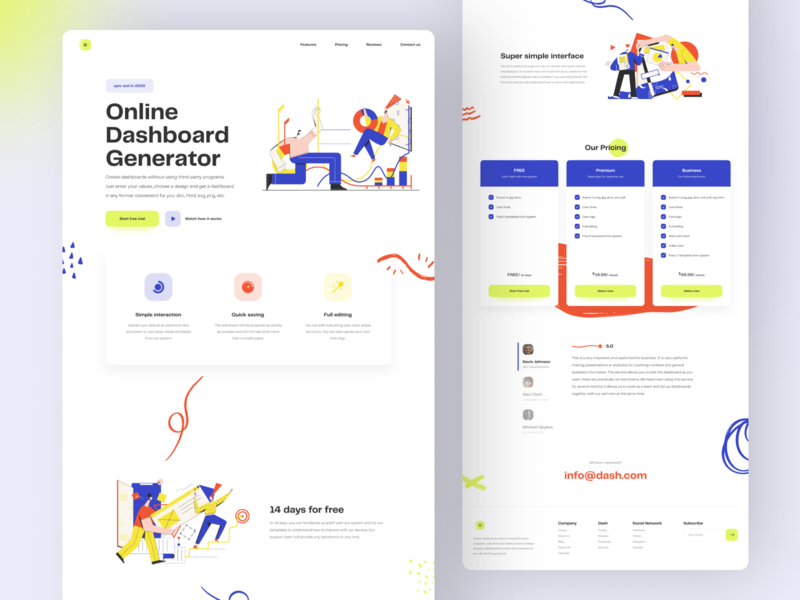 Landing Page — Dashboard Generator Platform 2020 trends ui elements ui dashboard app dashboad platform web web-design design uidesign web design cartoon illustrations colorful