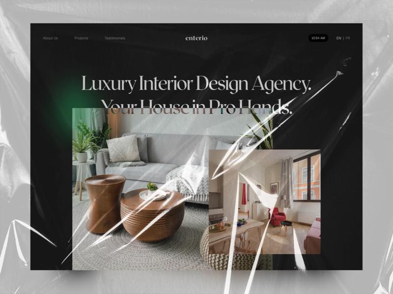 Enterio - Interior Design Agency interface interior clean branding ui elements uidesign ui web-design design landing page website design website web 2020 trends
