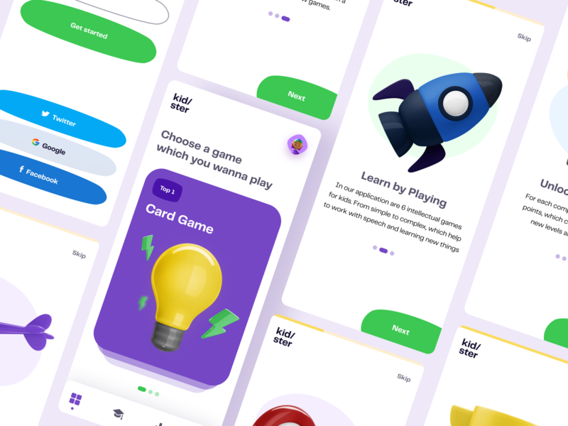 Kidster - Learn by Playing uxdesign ux clean app 2020 trends trends 2020 illustration kids app app design 3d ui elements uidesign ui design