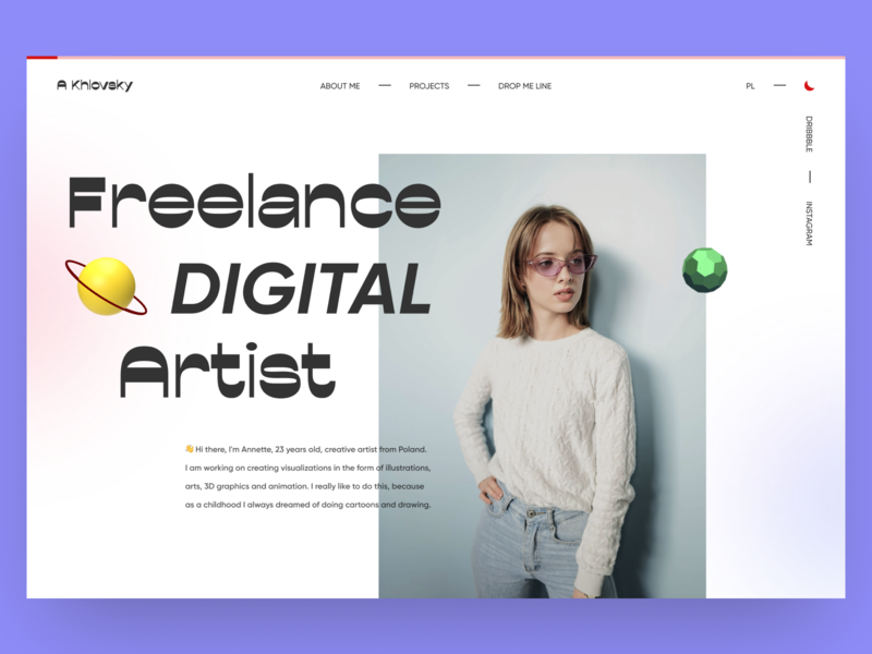 Khlovsky — Portfolio Website portfolio design portfolio digital artist artist website 2020 trends minimal web web-design ux ui elements uidesign ui design