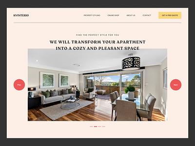 KVINTERIO brand company landing page interior 2020 trends app website minimal web web-design ux ui elements uidesign ui design