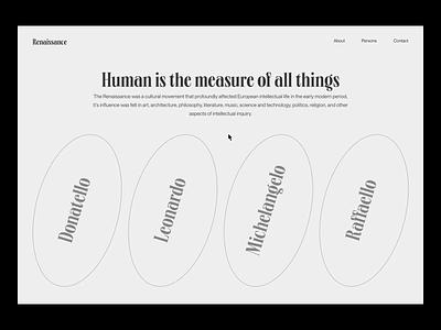 Renaissance Homepage Animation minimal web art renaissance 2020 trends 2021 trend after effects animation web-design ux ui elements uidesign ui design