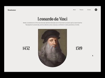 Renaissance Leonardo da Vinci Animation uidesing ux ui elements web design 2021 trend after effects animation uidesign 2020 trends website web minimal ui design