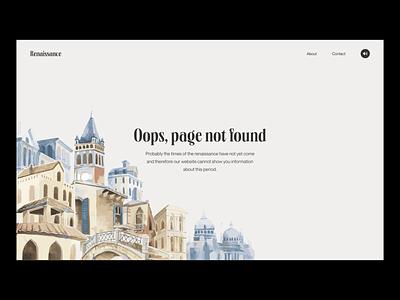 Renaissance 404 Error Page 404page 404 error page 404 error 404 404 page branding app website minimal web web-design 2021 trend 2020 trends ux ui elements uidesign ui design