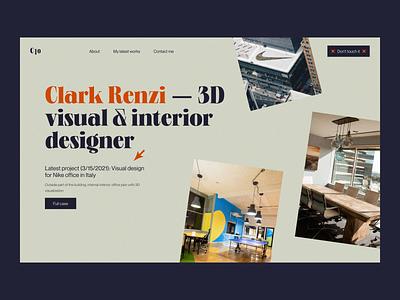 Clark Renzi — Website Header website design web design logo creative header portfolio webdesign 2021 trend 2020 trends app website minimal web clean web-design ux ui elements uidesign ui design