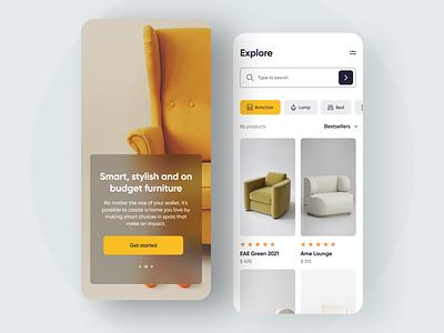 Furniture Shop App application app design furniture store furniture app furniture 2021 trend animation clean branding app 2020 trends ux ui elements uidesign ui design