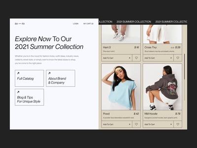 BA — RX Collection Page e-commerce website web design webdesign 2021 online store e-commerce animation fashion 2021 trend 2020 trends app website minimal web web-design ux ui elements uidesign ui design