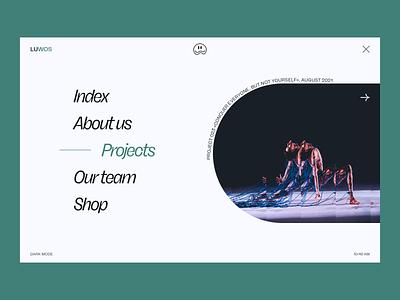 LUWOS — Menu Exploration navigation menu agency team performance 2021 trends 2020 trends concept web deisgn web page branding logo illustration web web-design ux ui elements uidesign ui design