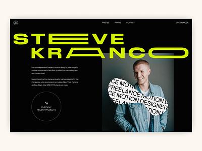 Steve Kranco — Portfolio Website website portfolio website new design concept portfolio stretched font stretch 2021 trends 2020 trends creative branding logo web web-design ux ui elements uidesign ui design