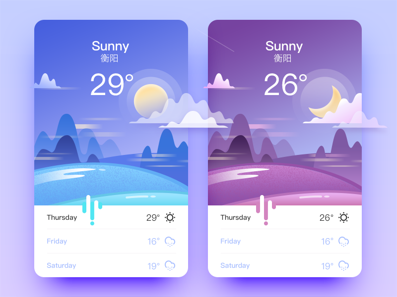 Weather App weather ui sunny snow interface illustration foggy color cloudy app