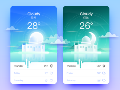 Weather App _仰光 architecture weather ui sunny snow interface illustration foggy color cloudy app
